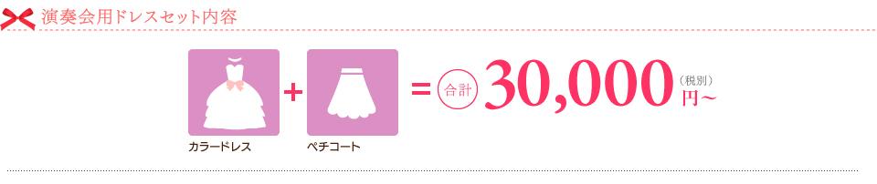 演奏会用ドレスセット内容。カラードレス+ペチコート=合計31.500円~(税込)