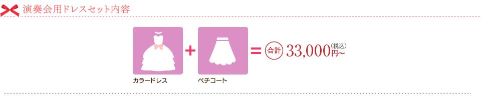 演奏会用ドレスセット内容。カラードレス+ペチコート=合計33.000円~(税込)
